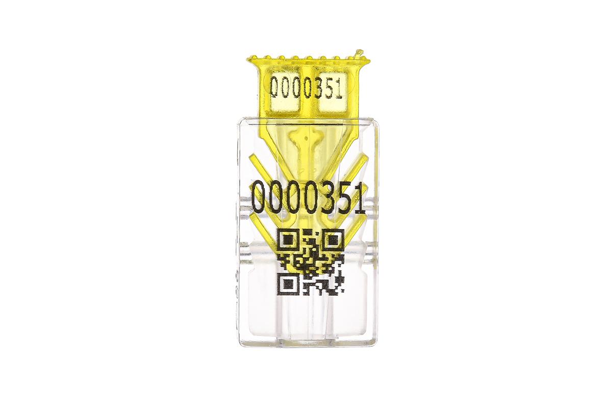 Жёлтая номерная пластиковая пломба ГАРПУН-М